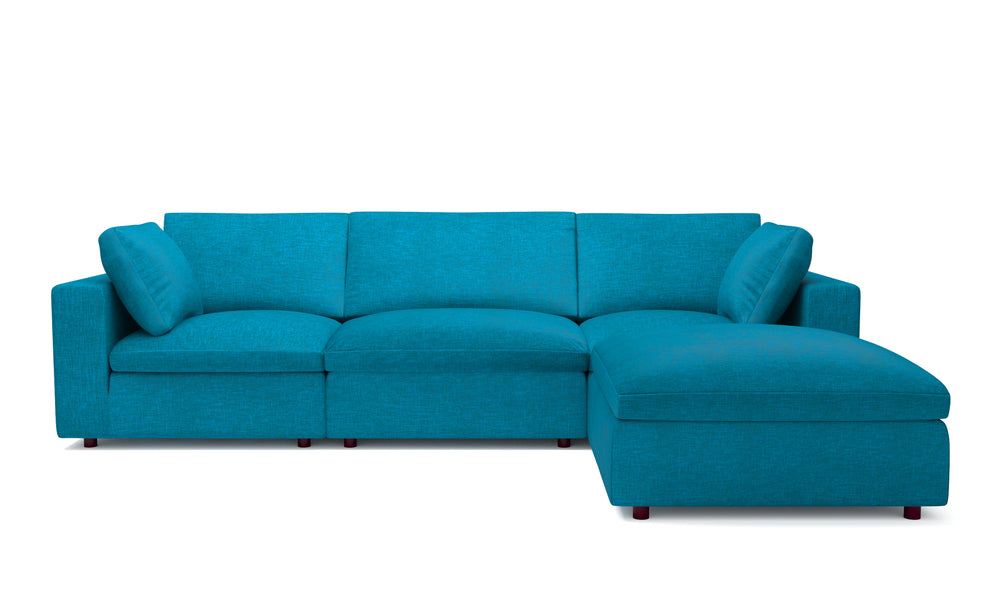 Blythe Teal Right 4-Piece Sectional