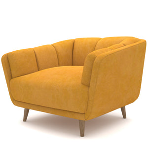 Crest Light Yellow Velvet Chair