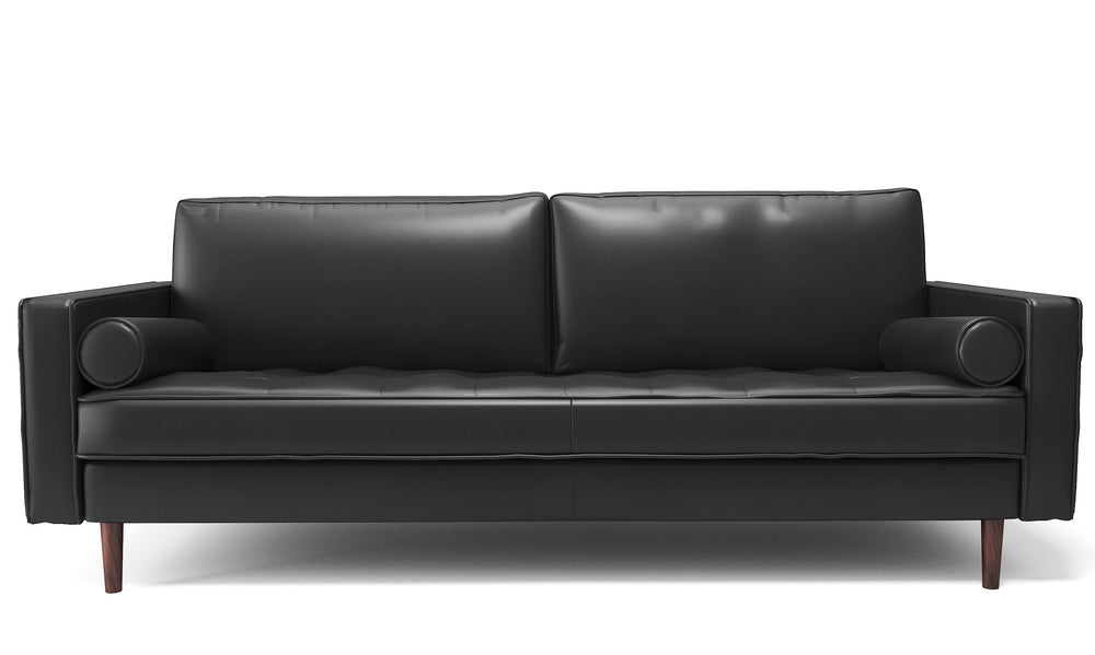 Elton Noir Leather Sofa