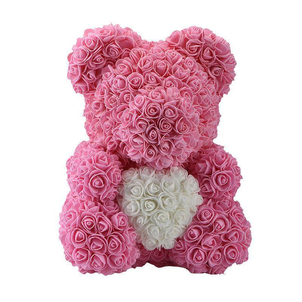 Pink HEART Rose Bear