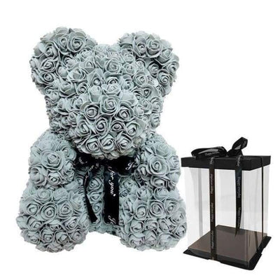 Gray LOVE Rose Bear