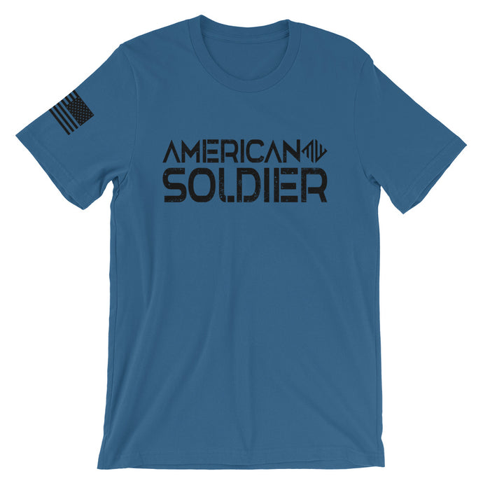 American Soldier T-Shirt W/ Flag On Sleeve