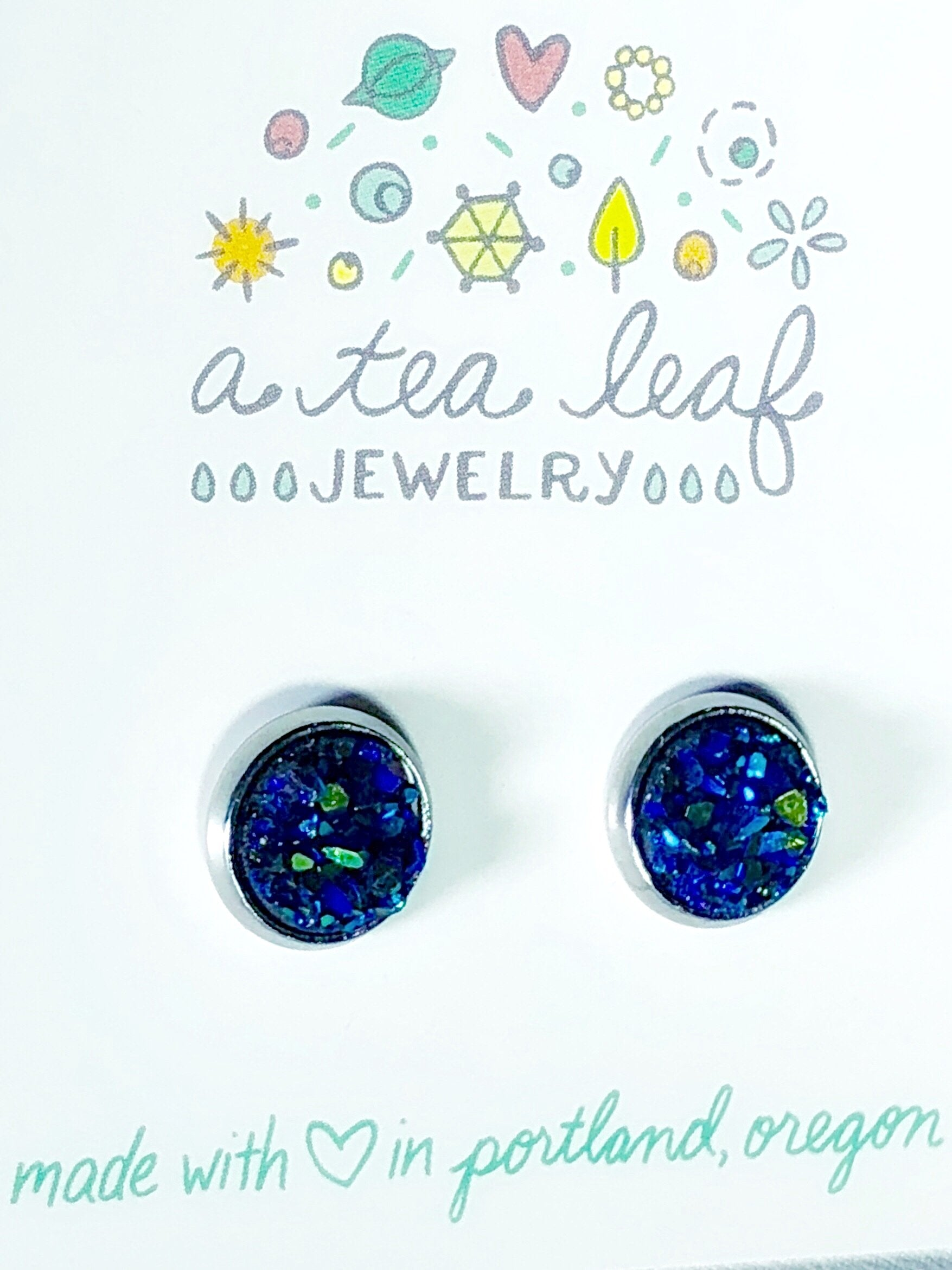 Blue-Green Faux Druzy Earrings (SS only)