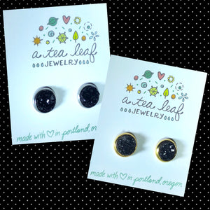 Black Faux Druzy Earrings (SS; Gold-plated)
