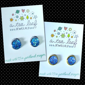 Cobalt Blue Faux Druzy Earrings (SS; Gold-plated)