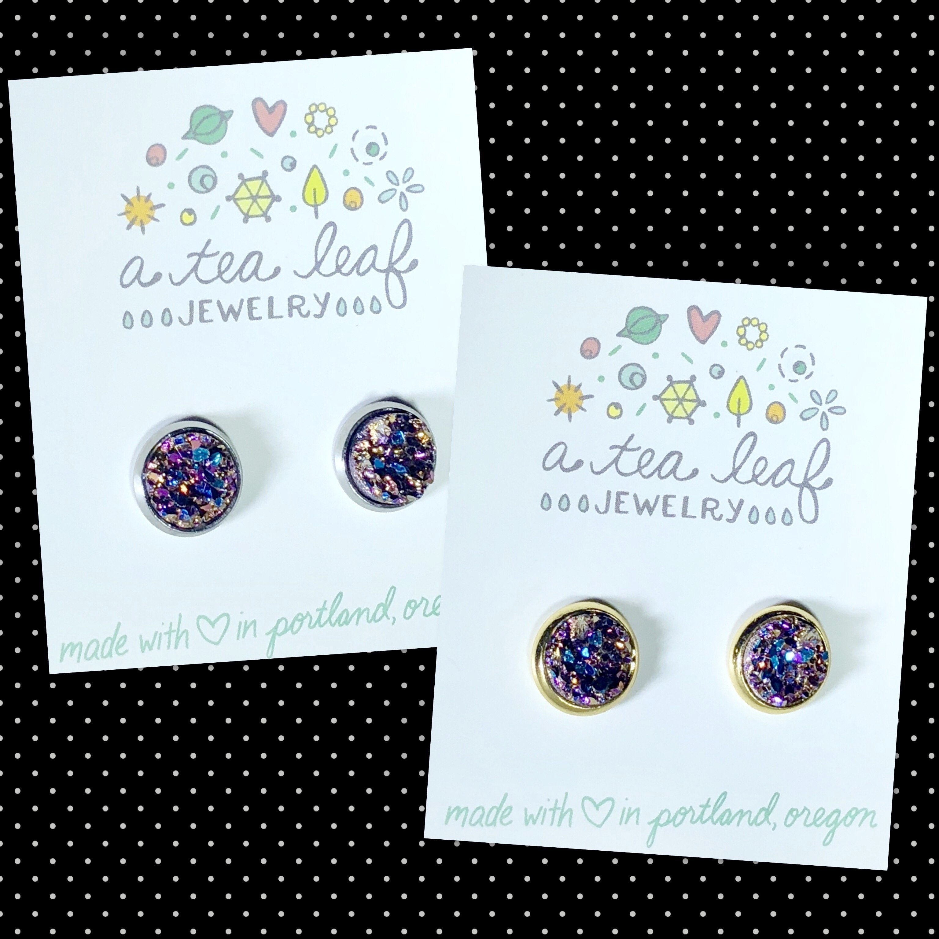 Pink-Gold-Blue Faux Druzy Earrings (SS; Gold-plated)