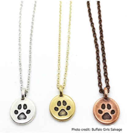 Hand-stamped Paw Print Necklace - 18""