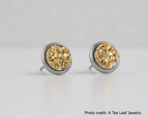 Gold Faux Druzy Earrings (SS; Gold-plated)