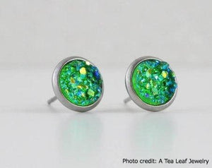 Shamrock Green Faux Druzy Earrings (SS; Gold-plated)