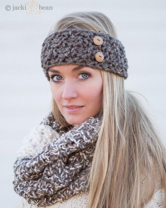 Hand-Knit Button Headband/Ear Warmer (9 colors)