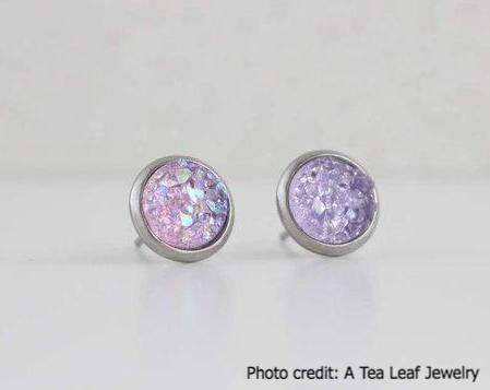 Soft Lavender Faux Druzy Earrings (SS; Gold-plated)