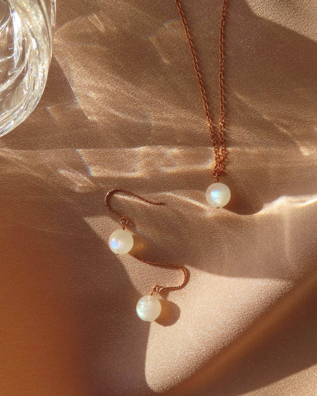 Rose Gold Moon Necklace & Earrings Set-QuazarJewelry