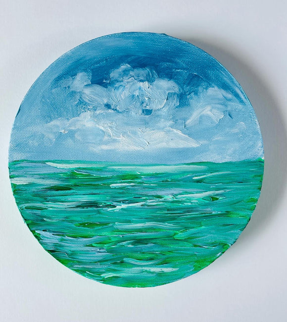 Round Seascape in Oil