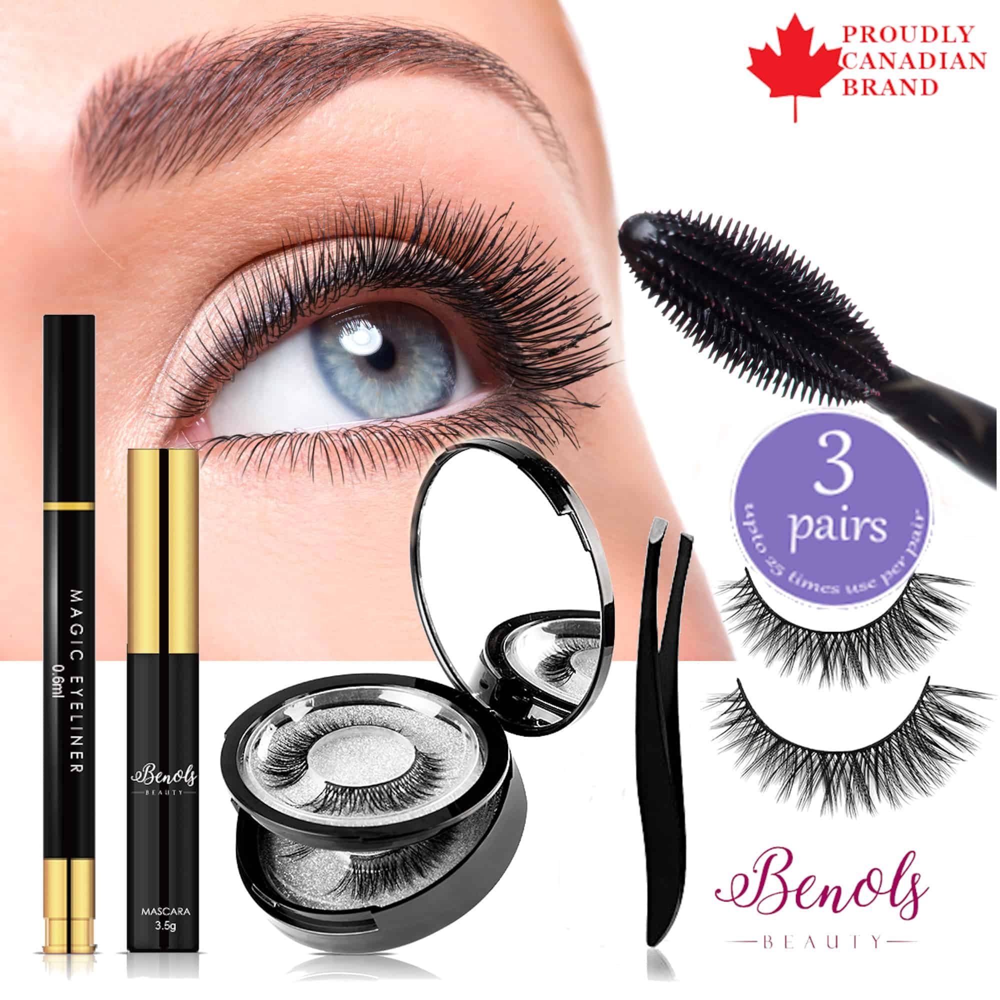 Magic Eyeliner and 3 Pairs False Lash Kit - Beauty Diva Collection - Limited Edition - Benols Beauty