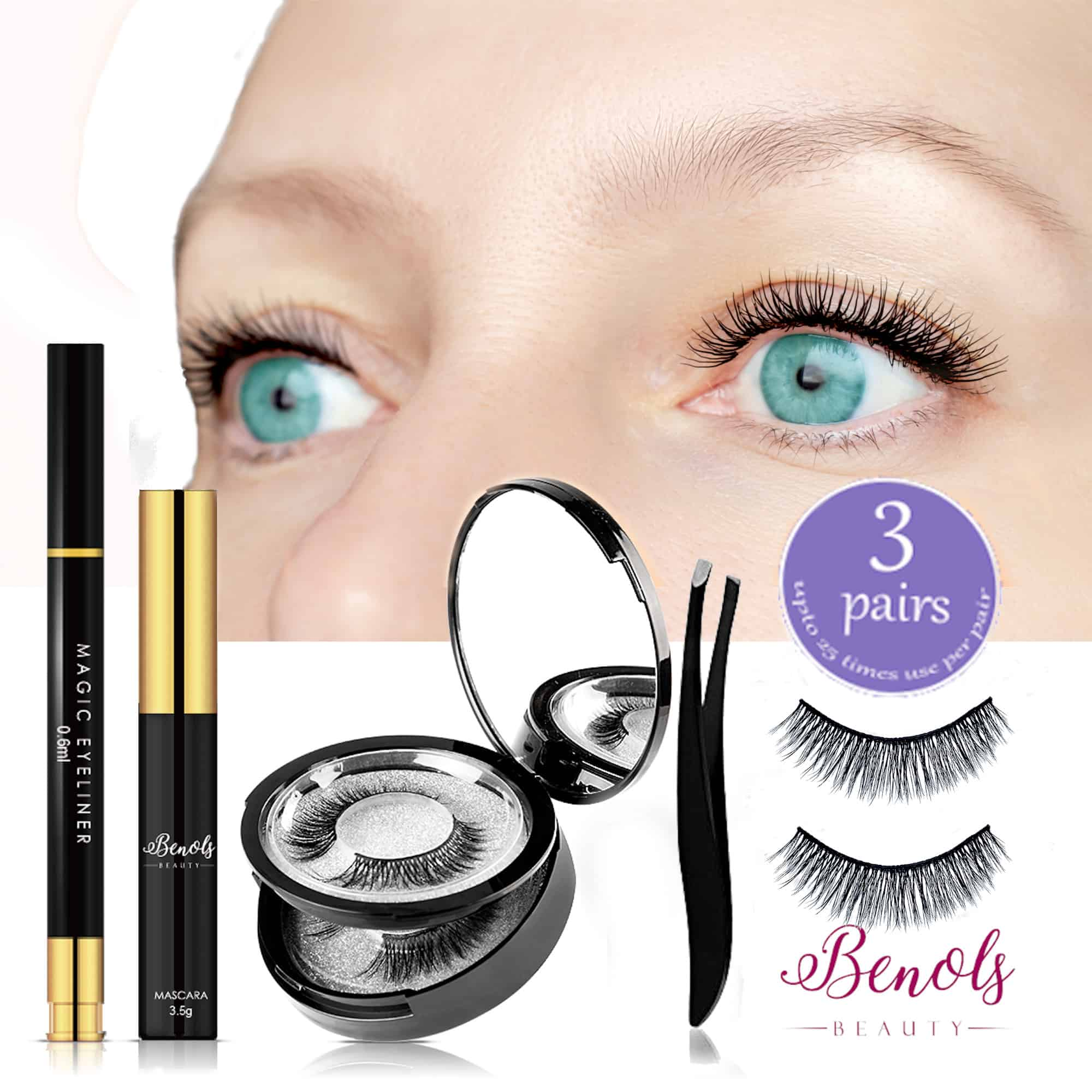 Magic Eyeliner and 3 Pairs False Lash Kit - Ever Ready Collection - Limited Edition - Benols Beauty