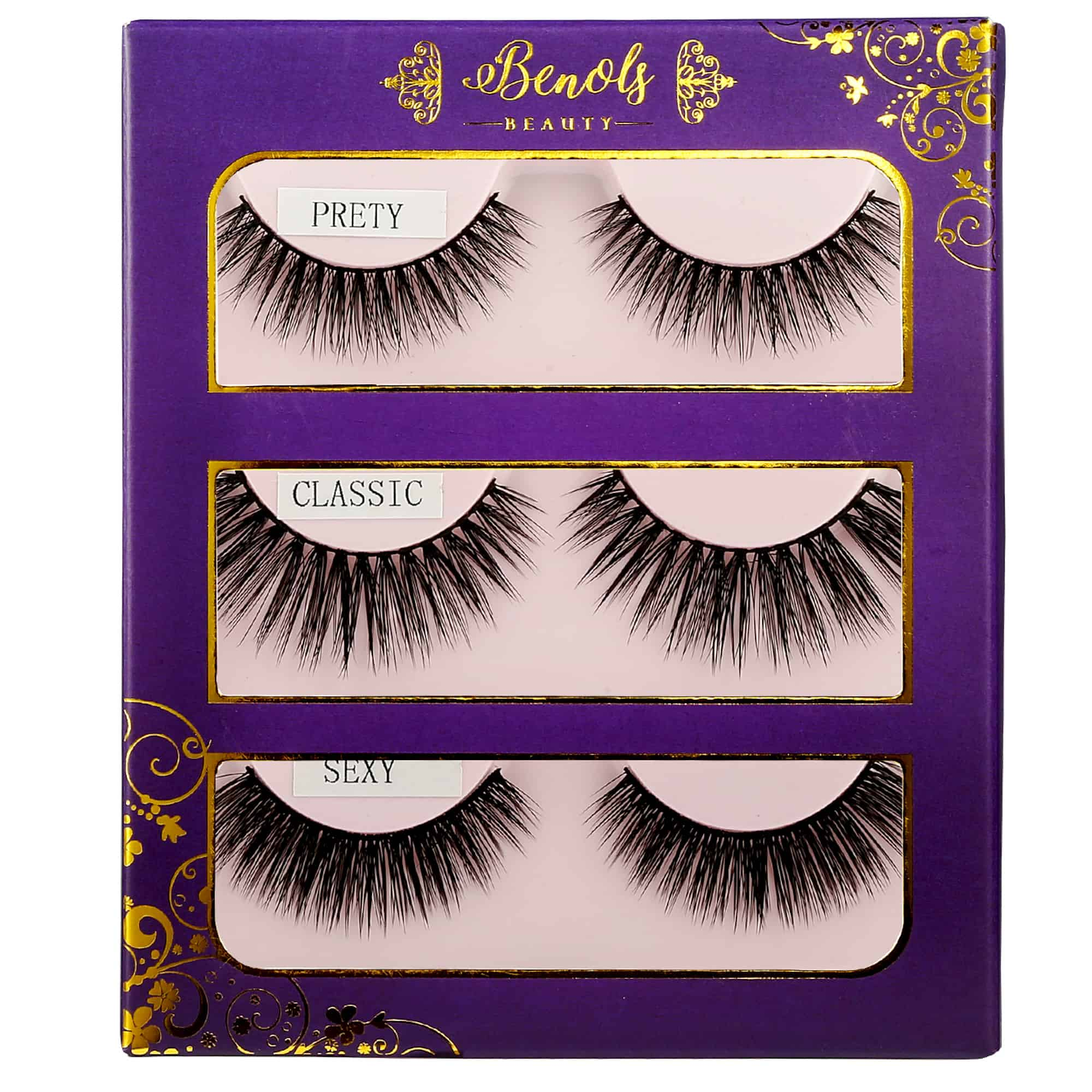 3 Pairs Glamour False Eyelashes Set - Benols Beauty