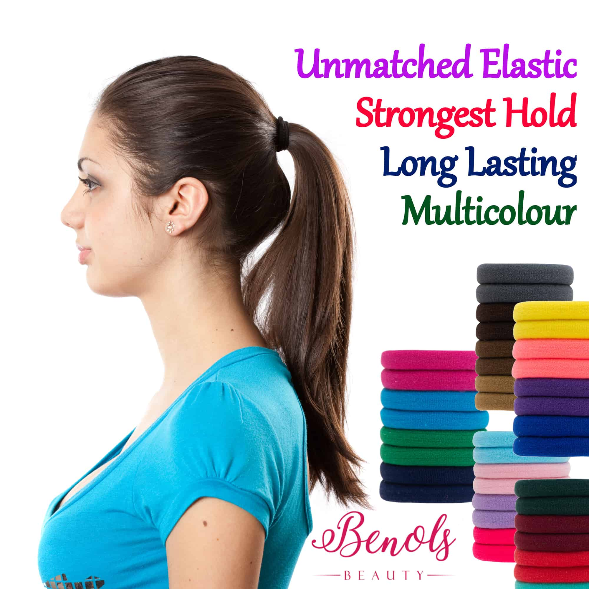 Hair Elastics  (48 pcs Assorted Colors) - Benols Beauty