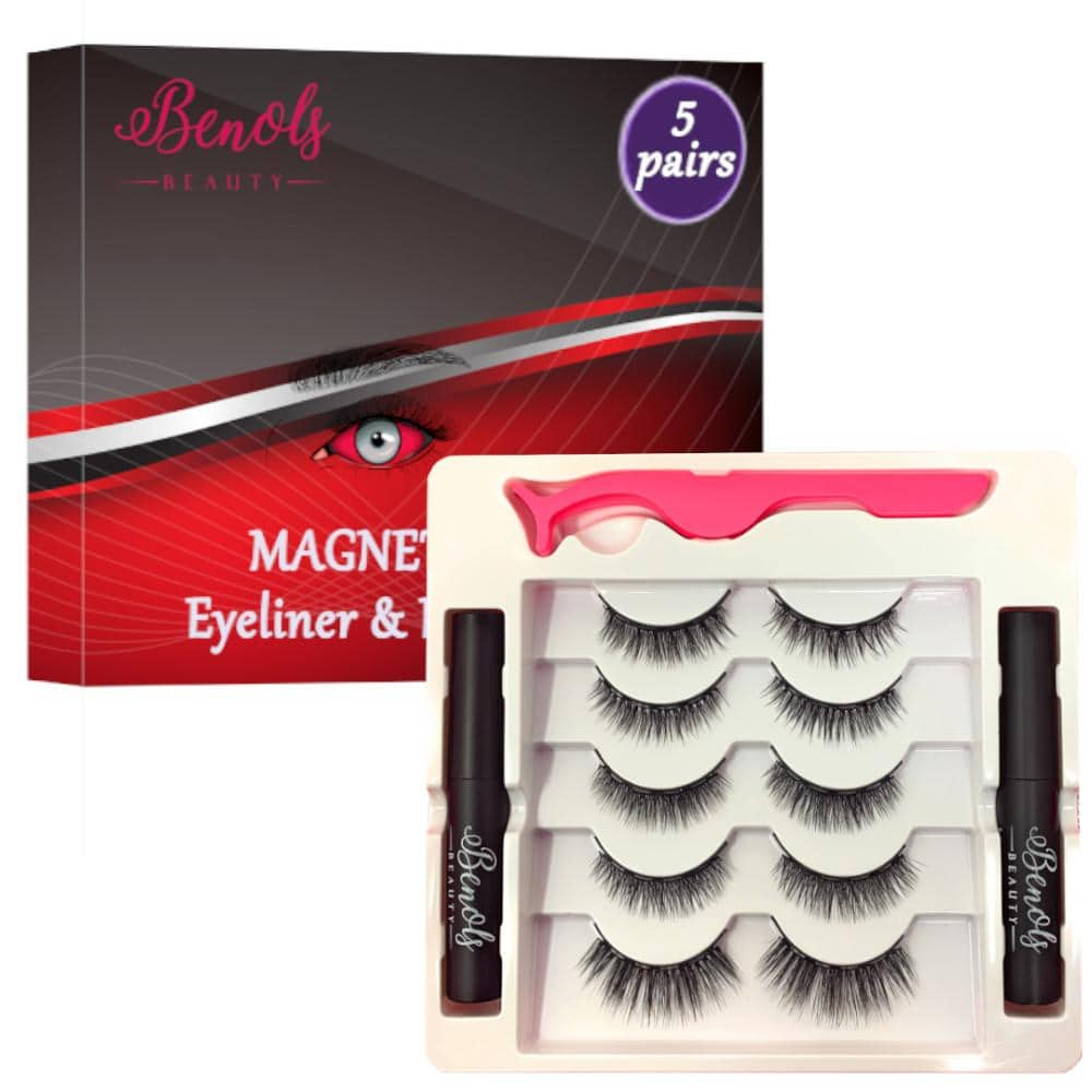 Upgraded Magnetic Eyeliner with 3D Magnetic Eyelashes Kit (5 Pairs & 2 Eyeliner) - Benols Beauty