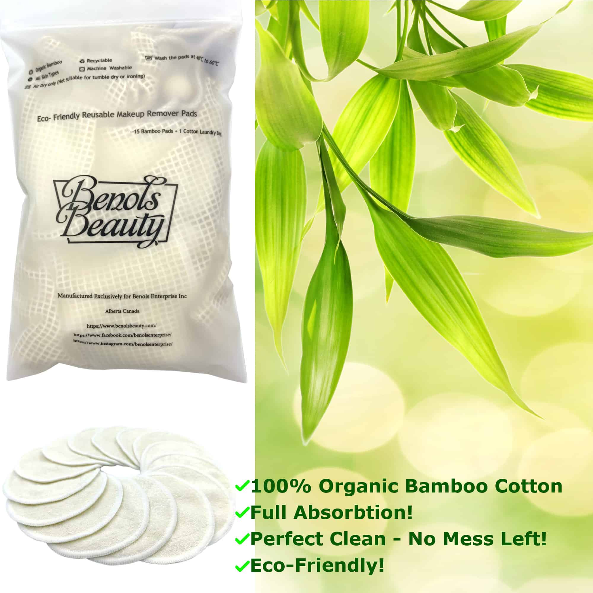15 Pack Reusable Bamboo Makeup Remover Cloths - Benols Beauty
