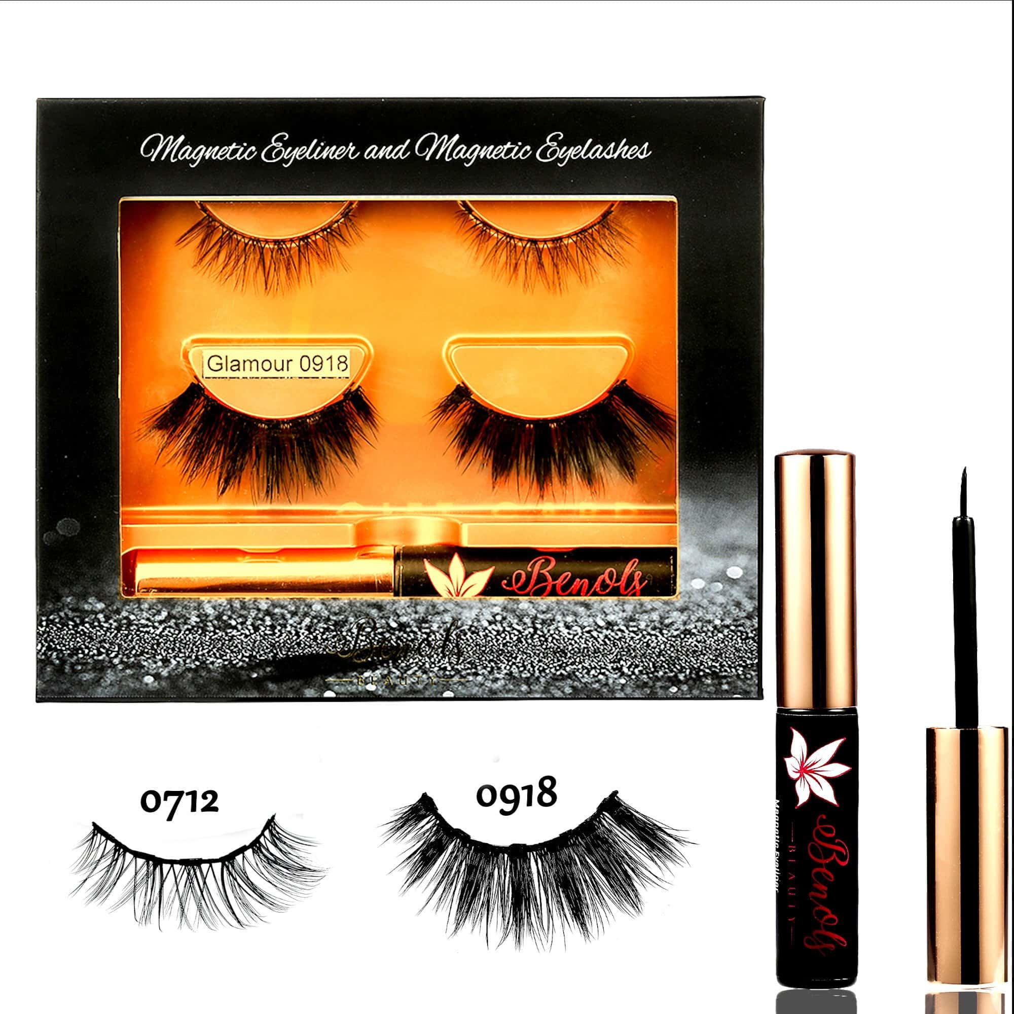 Glamour 3D Natural Look 5 Magnets Mink Lashes with Magnetic Eyeliner - Benols Beauty