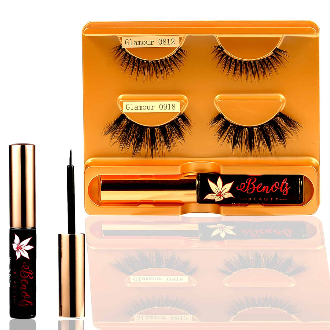 Glamour 0812 and 0918 Natural Look 3D Magnetic False Eyelashes and Magnetic Eyeliner Kit