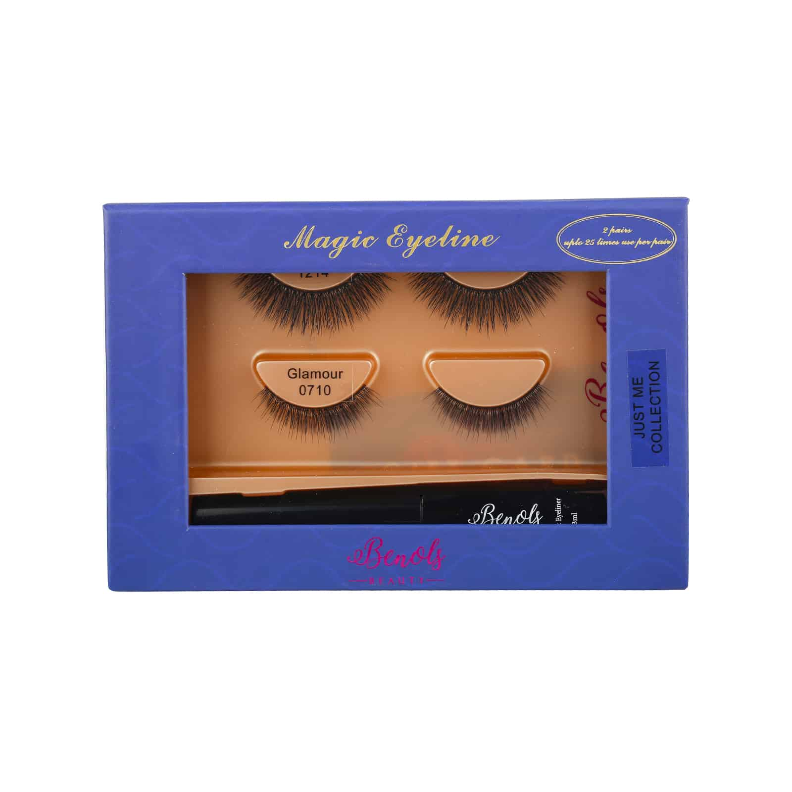 2 Pair 3D Mink Lashes with Extra Bond Magic Eyeliner (JUST ME COLLECTION) - Benols Beauty