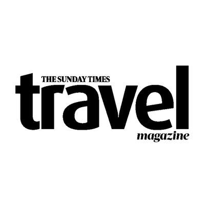 Sunday Times Travel Magazine, logo. Who featured our eco, Komodo Pink wash bag