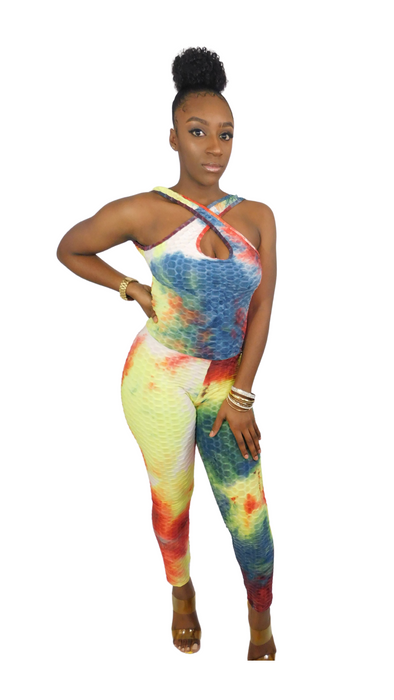 Back At It Embossed Tie Dye Jumpsuit-Yellow/Red