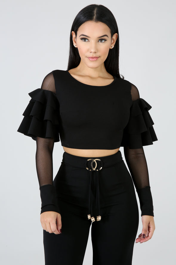 Cardi Ruffled Sleeve Top