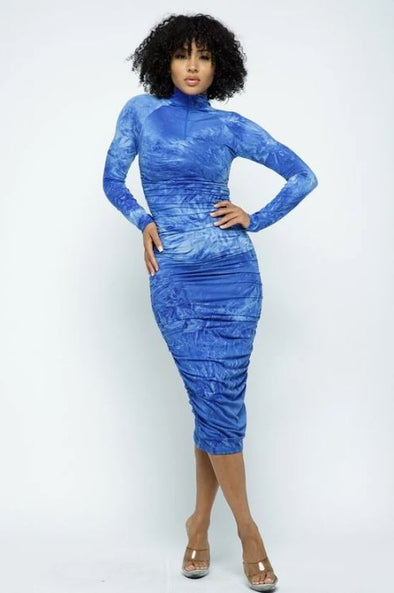 Tie Dye Bodycon Long Dress- Blue-RESTOCKED