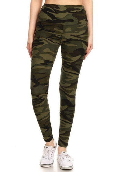 Long Yoga Style Banded Lined Olive Camo Print, Full Length Leggings In A Slim Fitting Style With A Banded High Waist.