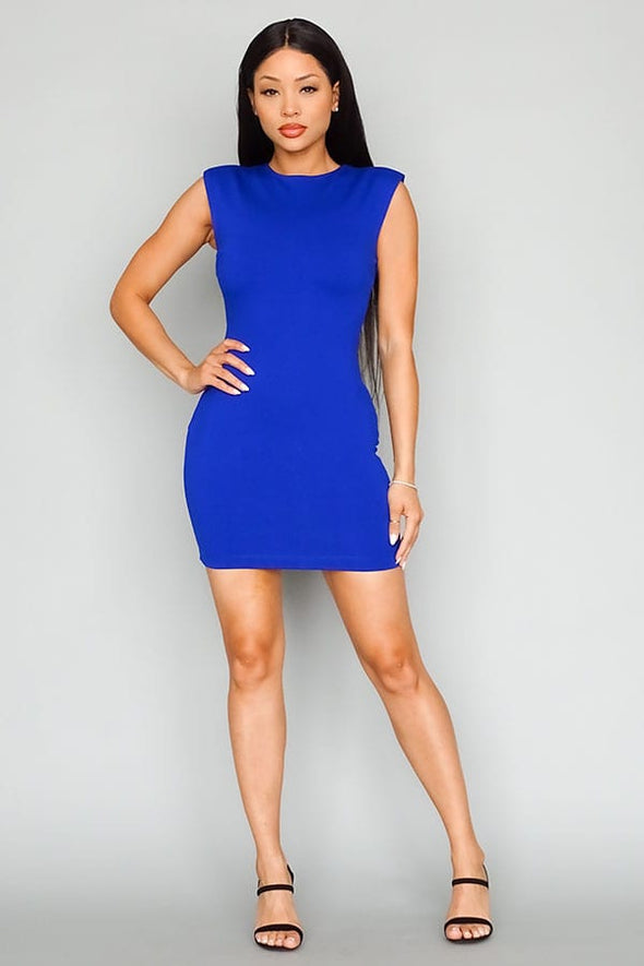 Bella Padded Shoulder  Sleeveless Mini Dress