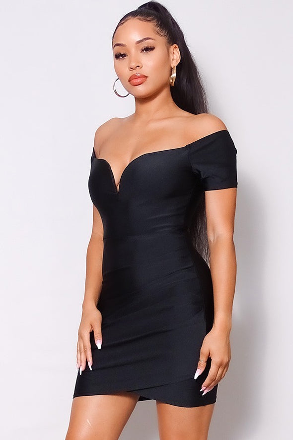 Naiomi Off Shoulder V Front Gathered Bodycon Mini Dress-Black