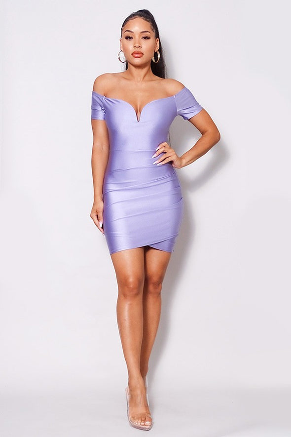 Naiomi Off Shoulder V Front Gathered Bodycon Mini Dress-Lilac