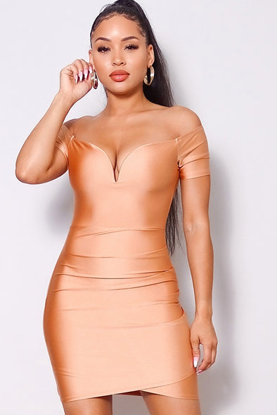 Naiomi Off Shoulder V Front Gathered Bodycon Mini Dress-Metalic Nude