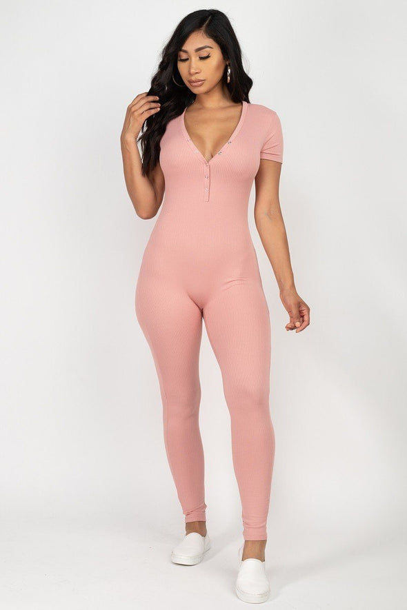 Groovy Button Down Bodycon Jumpsuit Pink