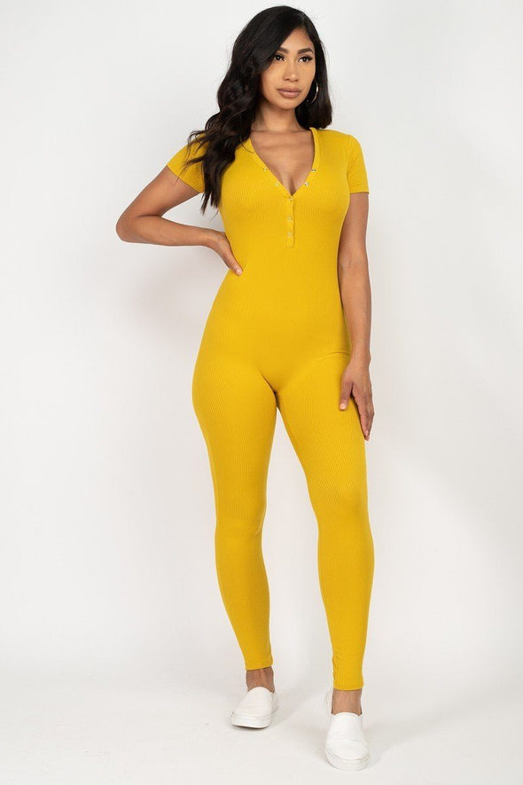 Groovy Button Down Bodycon Jumpsuit Yellow