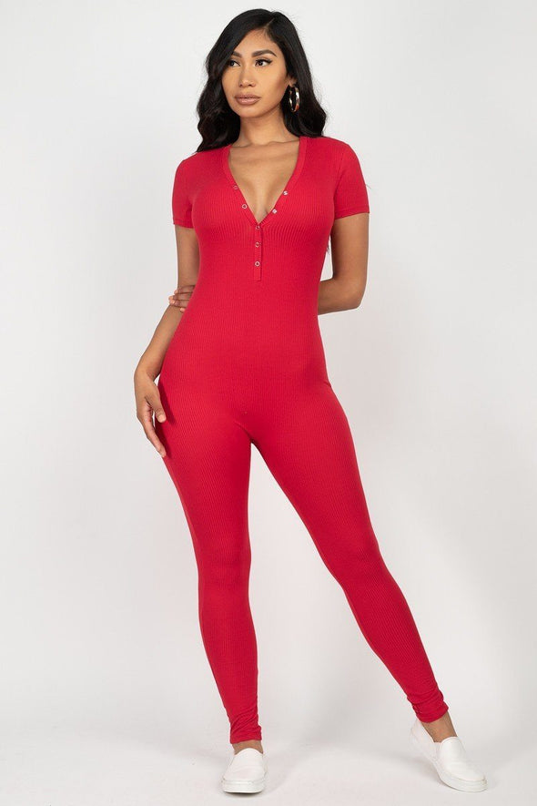 Groovy Button Down Bodycon Jumpsuit Red