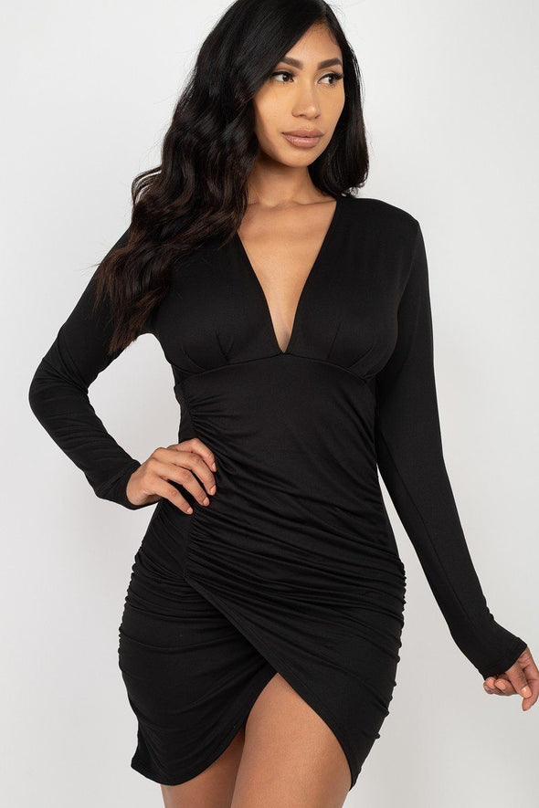 Belinda Ruched Wrap Bodycon Dress