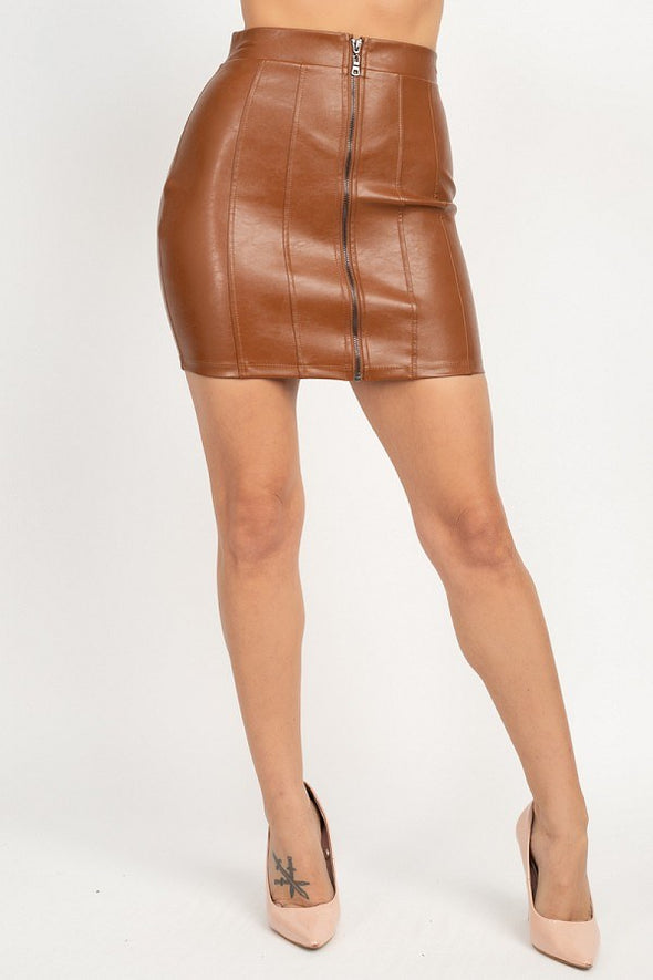 Stuck On You Front Zip Mini Skirt Caramel