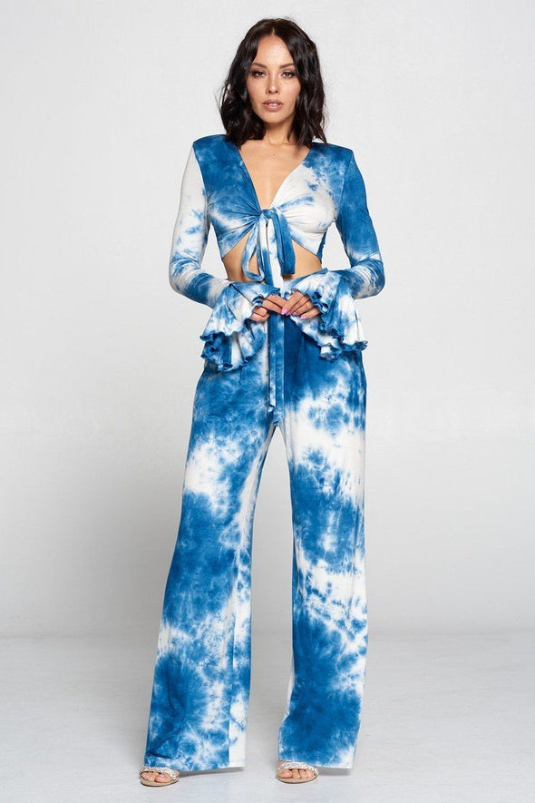 Belisma Tie Dye Top And Wide Leg Pants Set