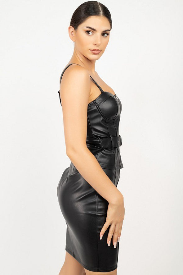 Anishka Top & Mini Skirt Faux Leather Set