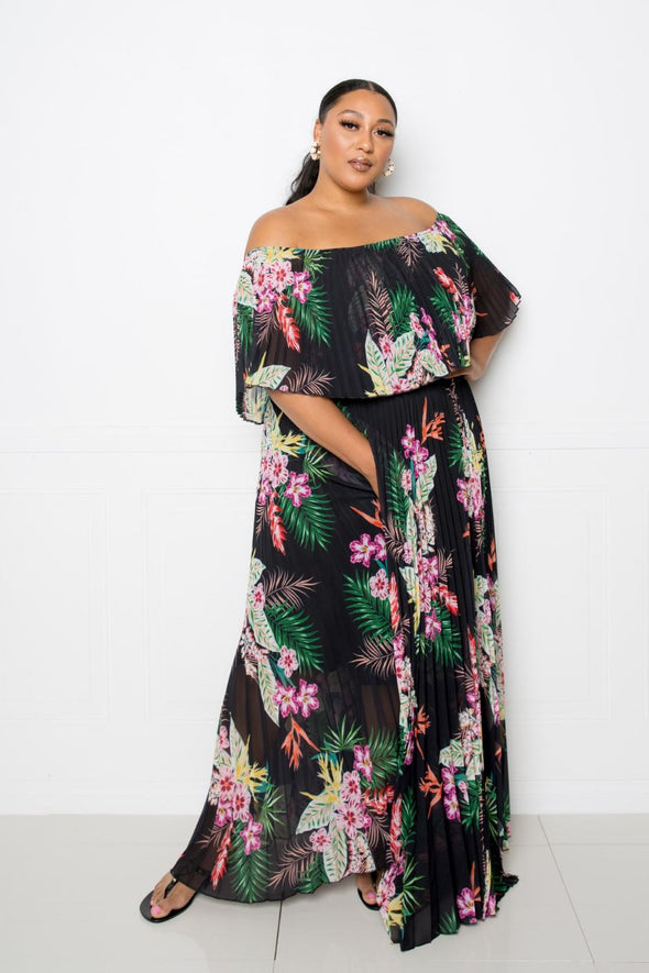 Kami Tropical Printed Off Shoulder Pleated Maxi Dress
