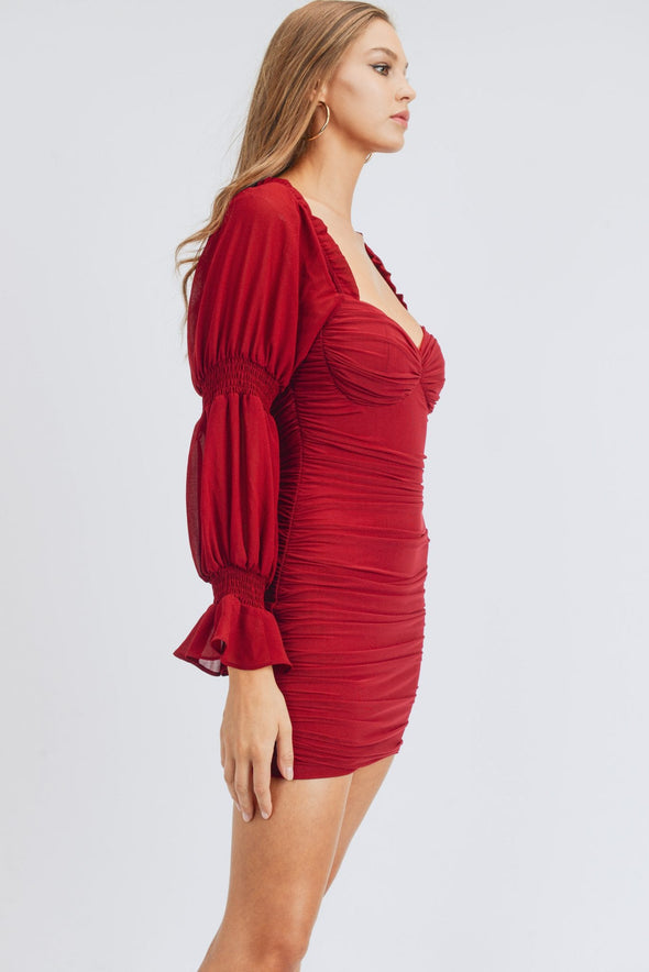 Long Puff Sleeve Ruched Mini Dress