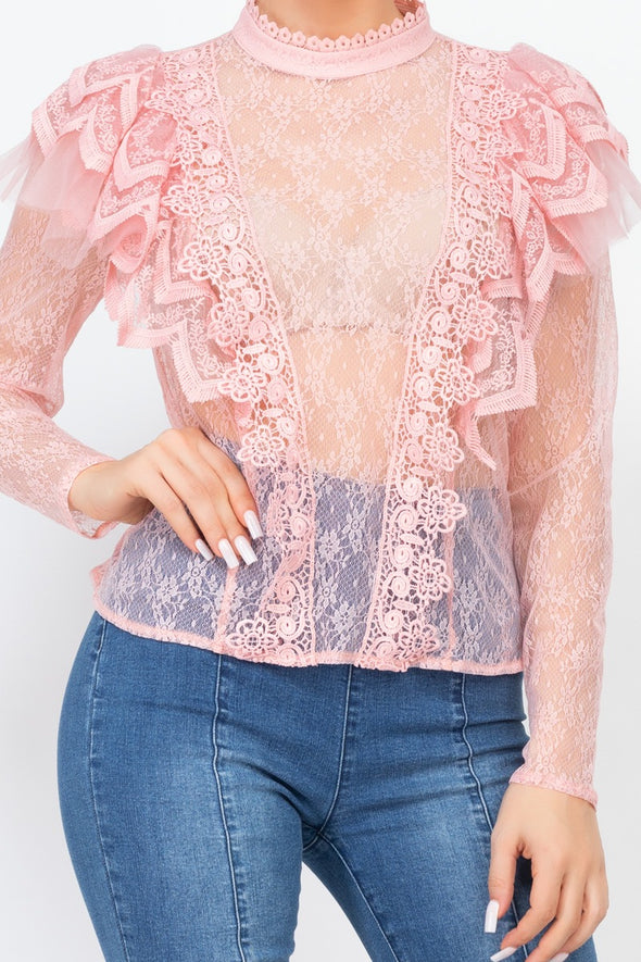 Floral Lace Ruffle Trim Top