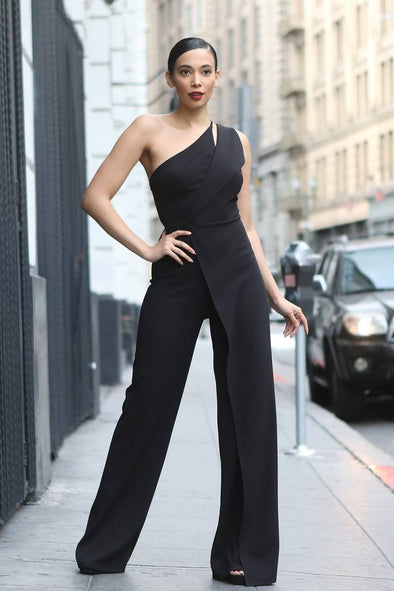 Anaya One Shoulder Jumpsuit Black
