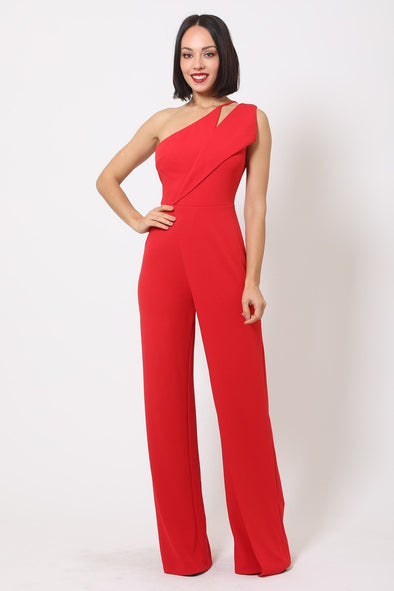 Anaya One Shoulder Jumpsuit Red