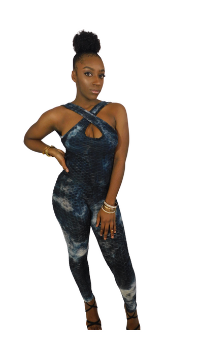 Back At It Embossed Tie Dye Jumpsuit-Black