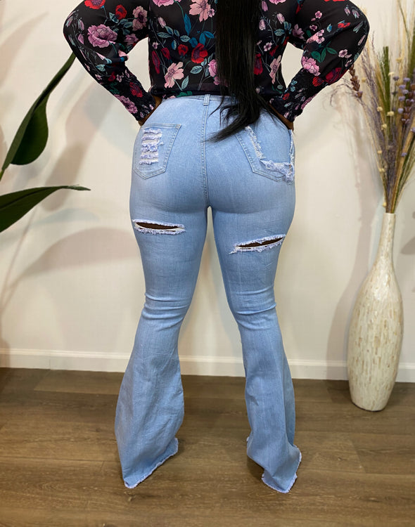Not Your Trick Distressed Bell Jeans Light Blue