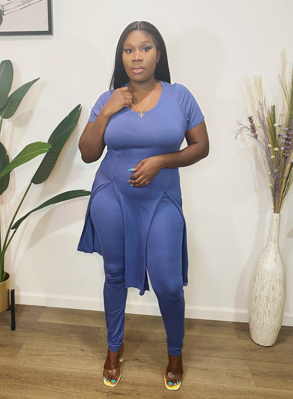 Best Of Me 2 Piece Set Denim Blue PLUS SIZE